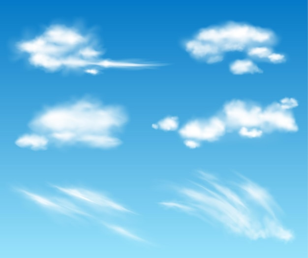 Collection de nuages transparents vectoriels réalistes. illustration de ciel nuageux moelleux. tempête, effets de nuages de pluie. modèle de concept de climat d'atmosphère