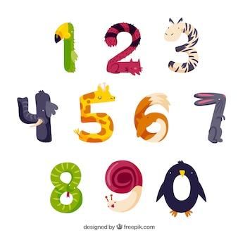 Collection de numéros d'animaux mignons