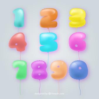 Collection de numéros de ballon coloré