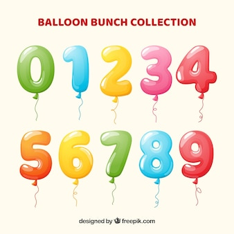 Collection de numéros de ballon coloré
