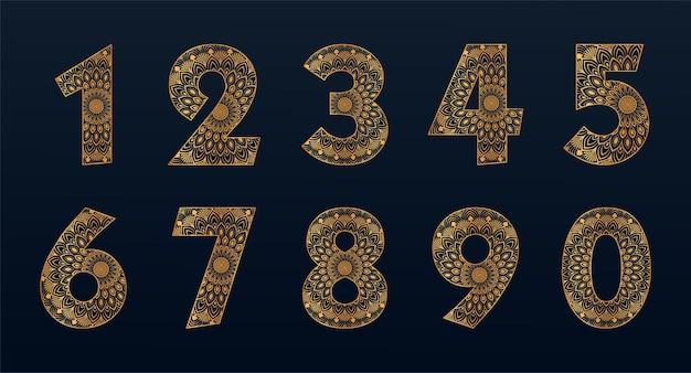 Collection de numéros de couleur or avec motif mandala