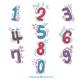 Collection de numéros de dessin animé avec un style coloré