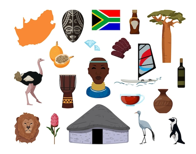 Collection d'objets d'afrique du sud