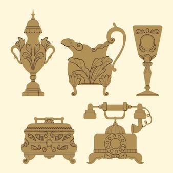 Collection d'objets anciens dessinés à la main