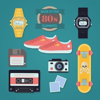 Collection d'objets années quatre-vingt dans la conception plate