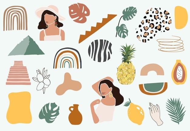 Collection d'objets contemporains avec femme, forme, arc-en-ciel. illustration vectorielle modifiable pour site web, invitation, carte postale et affiche