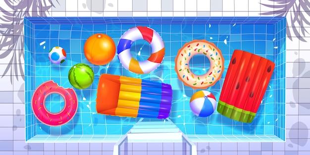 Collection d'objets de fête de piscine de dessin animé