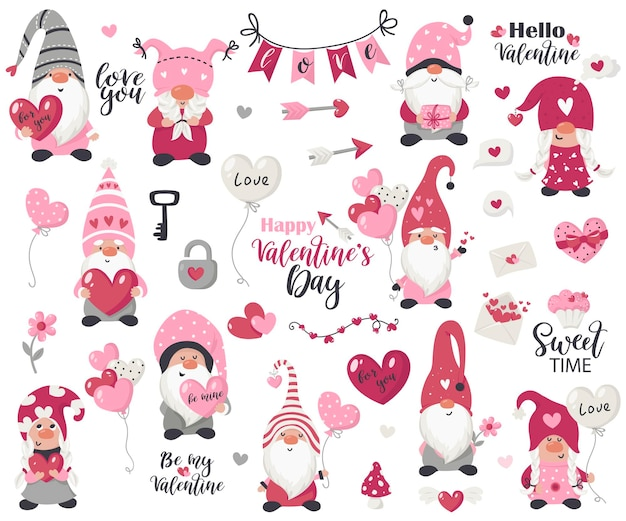Collection d'objets et de gnomes de la saint-valentin. illustration pour cartes de voeux, invitations de noël et t-shirts