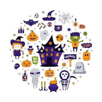 Collection d'objets d'halloween.