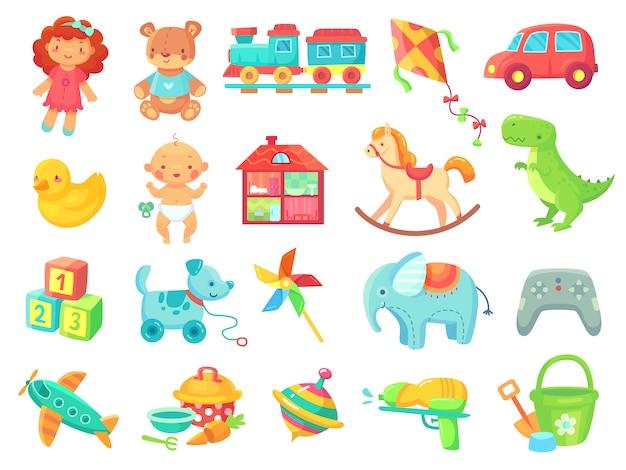 Collection d'objets de jouets en plastique coloré de peluche poupée voiture jouet drôle