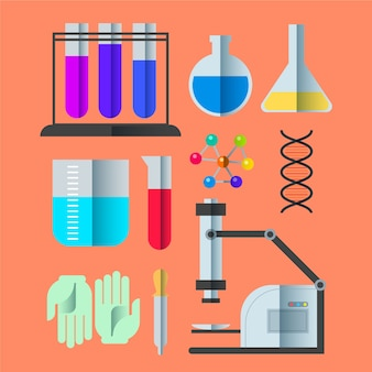 Collection d'objets de laboratoire scientifique