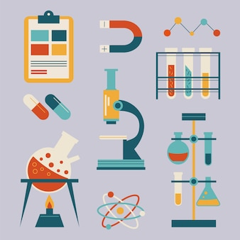 Collection d'objets de laboratoire scientifique
