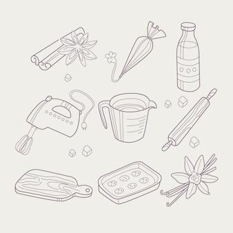 Collection d'objets liés à la cuisson
