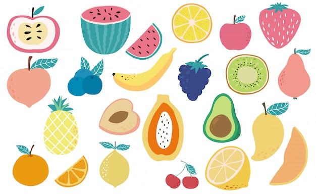 Collection d'objets mignons de fruits frais