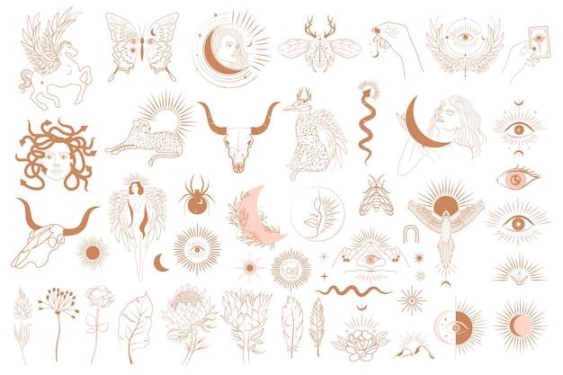 Collection d'objets mythologiques, animaux fantastiques, créature mythique, objets ésotériques et boho, femme