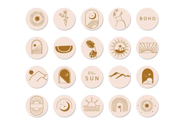 Collection d'objets de la nature avec illustration de conception de soleil