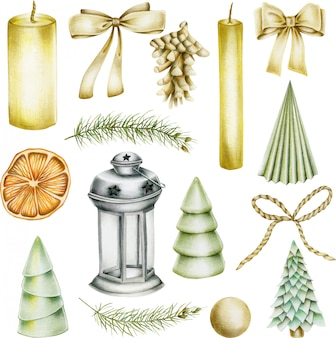 Collection d'objets de noël (bougies, noeuds, pomme de pin, sapin de noël, orange séchée, lanterne)
