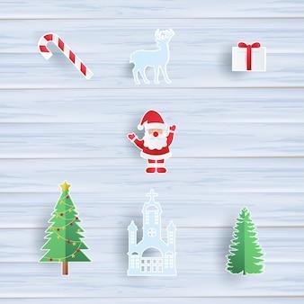 Collection d'objets de noël avec le père noël, arbre de noël, renne, cadeau