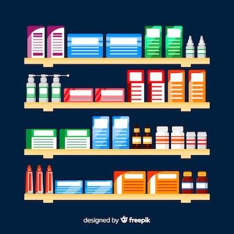 Collection d'objets plats de pharmacien
