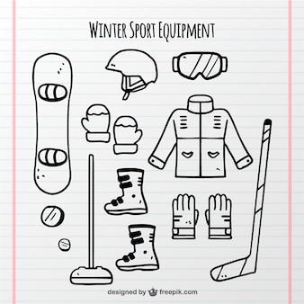 Collection d'objets de sports d'hiver dessinés à la main
