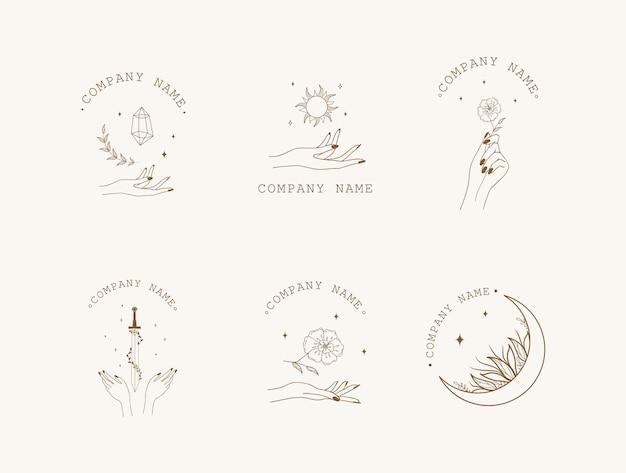 Collection occulte avec mains, lune, soleil, cristal, épée et fleurs.