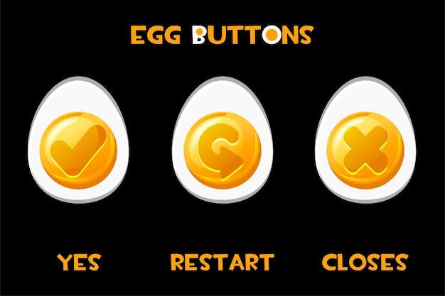 Collection d'oeufs de boutons vectoriels redémarrer, se ferme, oui. ensemble d'icônes ovales isolés pour l'interface graphique du jeu.