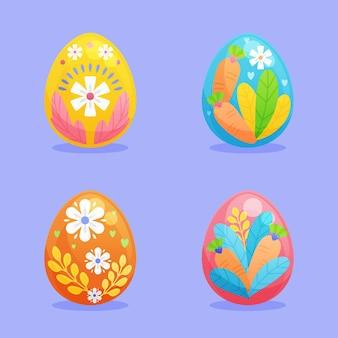 Collection d'oeufs de pâques décoratifs plats colorés