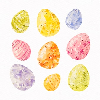 Collection d'oeufs de pâques design aquarelle