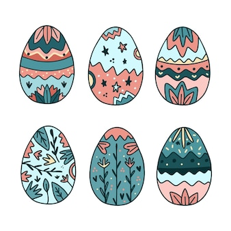 Collection d'oeufs de pâques dessinés à la main