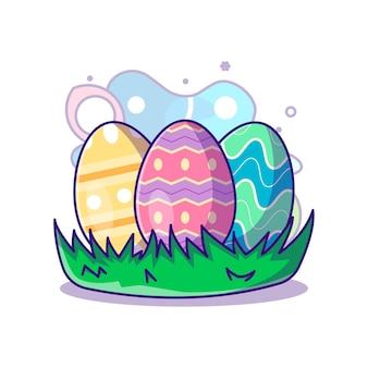 Collection d'oeufs de pâques à l'illustration d'icône vectorielle de pâques