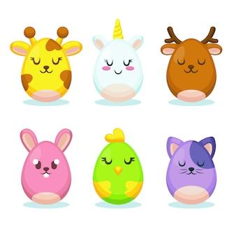 Collection d'oeufs de pâques avec personnage d'animaux