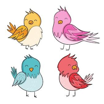 Collection d'oiseaux d'automne dessinés à la main