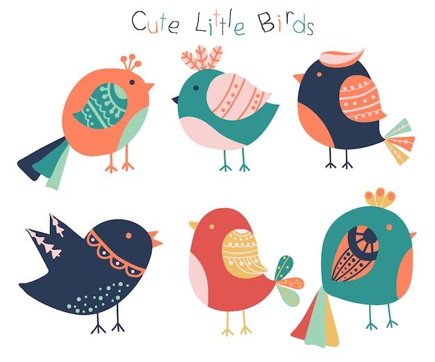 Collection d'oiseaux colorés mignons dessinés à la main.
