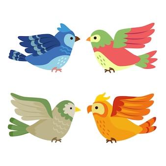 Collection d'oiseaux dessinée à la main