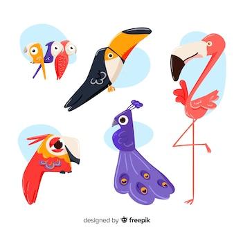 Collection d'oiseaux dessinés à la main mignonne