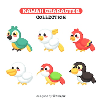 Collection d'oiseaux kawaii