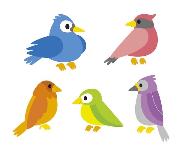 Collection d'oiseaux robin colorés design plat