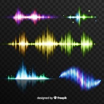 Collection d'ondes lumineuses colorées