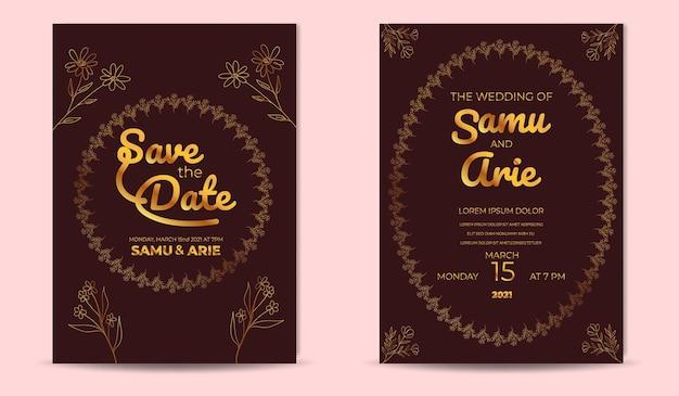 Collection d'or d'art de ligne de fleur d'invitation de mariage de luxe