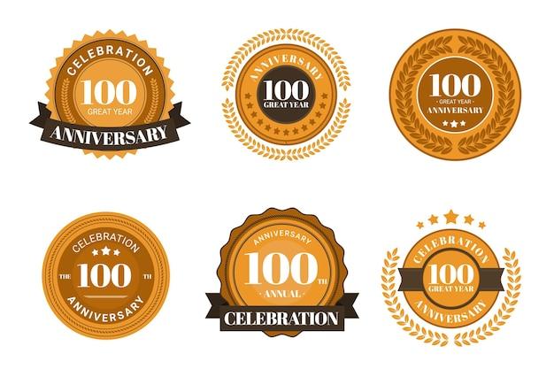 Collection d'or de badge 100 anniversaire