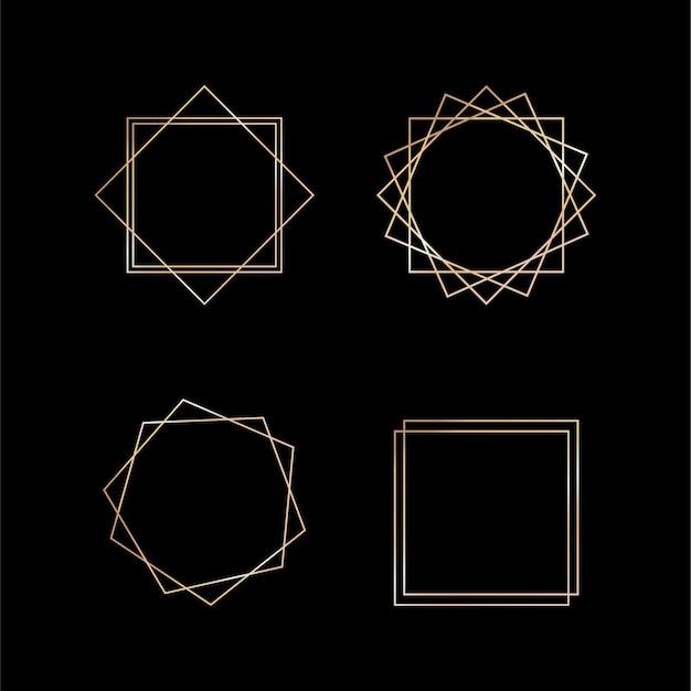 Collection d'or de cadre géométrique sur fond blanc. élément décoratif pour logo, carte, invitation. modèles de luxe, style art déco pour invitation de mariage.