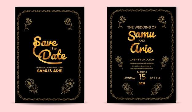 Collection d'or d'invitation de mariage