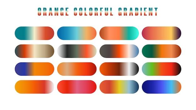 Collection orange de fond de graphique dégradé lisse et coloré pour la conception graphique. illustration vectorielle