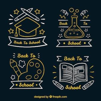 Collection originale d'étiquettes d'école dessinés à la main