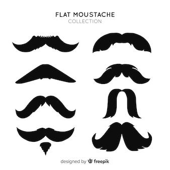 Collection originale de moustache avec design plat