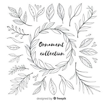 Collection d'ornement dessiné à la main des feuilles