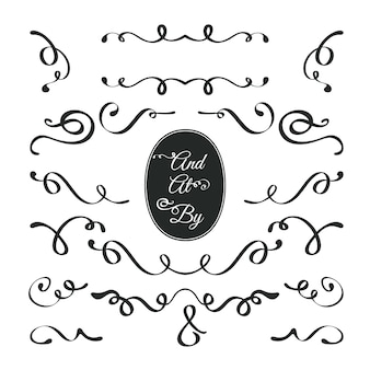Collection d'ornement de mariage calligraphique