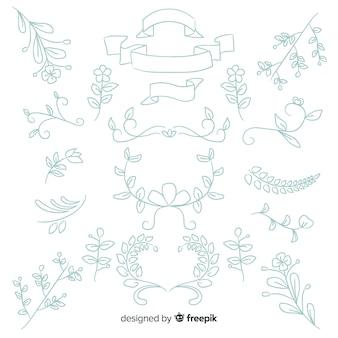 Collection d'ornement de mariage dessiné à la main
