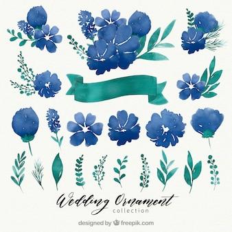 Collection d'ornement de mariage floral aquarelle