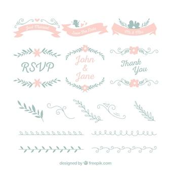 Collection d'ornement de mariage floral